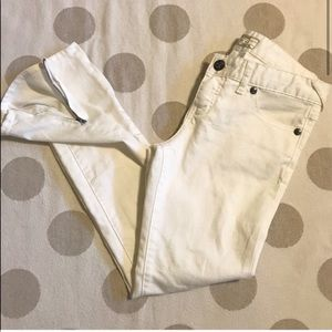 Free People white zipper cuff ankle skinny jeans